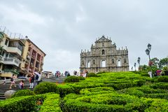Ruins of St. Paul`s, Historic Centre of Macau royalty free stock photo
