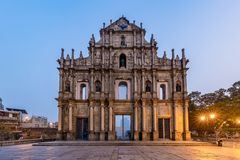 Ruins of St. Paul`s, Macau landmark, In 2005, they were officially listed as part of the Historic Centre of Macau, a UNESCO Worl. D Heritage Site, Macau, China royalty free stock photography