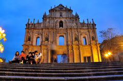 Ruins of St. Paul's night. In Chinese Macao.The photo was taken as 2015.3.1 Stock Images