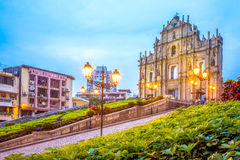 Ruins of St. Paul`s at night. Ruins of St. Paul`s in macau, china Royalty Free Stock Photo