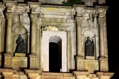 Ruins Of St. Paul At Night, Macau, China, UNESCO World Heritage Site. The Ruins of St. Paul`s are the ruins of a 17th-century complex in Santo António, Macau Stock Photo