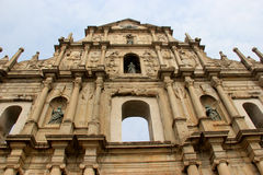 The Ruins of St. Pauls, one of the Macaus most fam. Ous landmarks and officially enlisted as part of the UNESCO World Heritage Site Historic Center of Macau in Royalty Free Stock Photo