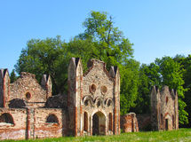 The ruins of the stables baronial. Summer day Royalty Free Stock Photo