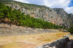 Ruins of stadium in Delphi, Greece Royalty Free Stock Image