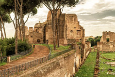 The ruins of the stadium of Domitian on the Palatine Hill in Rom Stock Photo