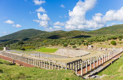 Ruins of stadium and gymnasium in Ancient Messina. Peloponnes, Greece royalty free stock photography