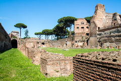The ruins of the Stadium on the Palatine Hill in Rome, Italy stock photos