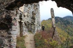 Ruins of Starhrad castle in Žilina region. Slovakia royalty free stock images