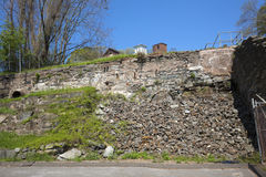 Ruins of stone wall near old mill, Rockville, Connecticut. Royalty Free Stock Photo