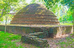 The ruins of Stupa. The ruins of the ancient Stupa in park of Panduwasnuwara Archaeological  Museum, Sri Lanka Stock Image