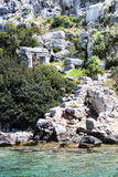 Ruins of sunken Lycian city Stock Images