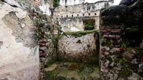 Ruins surrounded by bricks and greenery stock footage