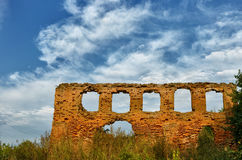 The ruins of a synagogue. Belarus.The ruins of a synagogue in the village Novy Sverjen.19th century stock photography