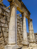 Ruins of synagogue in Capernaum, Israel Stock Images