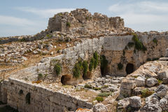 Ruins of Syracuse ancient fortifications, Sicily island Stock Images