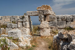 Ruins of Syracuse ancient fortifications, Sicily island Royalty Free Stock Image