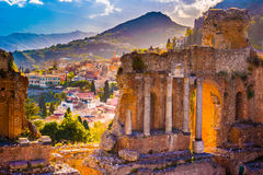 The Ruins of Taormina Theater at Sunset. Stock Photography