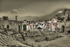 The Ruins of Taormina Theater at Sunset. Stock Image