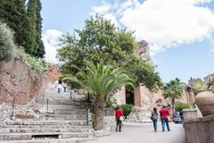 Ruins of Teatro di Taormina, Sicily, Italy. Ruins of the greek roman theater of Taormina, Sicily, Italy on a hot summer day Royalty Free Stock Photography