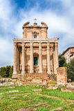Ruins of the Temple of Antoninus and Faustina in Rome, Italy Stock Photography