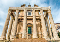 Ruins of the Temple of Antoninus and Faustina in Rome, Italy Stock Images