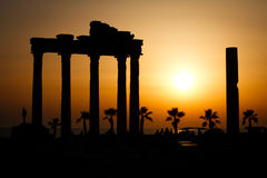 Ruins of temple of Apollo. Temple of Apollo at the sunset, Side, Turkey Stock Image