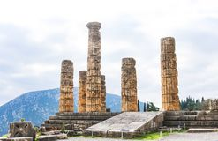 Ruins of the Temple of Apollo at Dephi where the Oracles prophesied during ancient Greek and Roman times high up in the mountains stock images