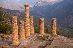 Ruins of  Temple of Appolo, Delphi, Greece Royalty Free Stock Photo
