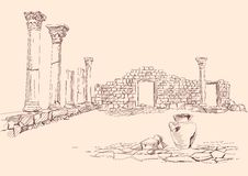 Ruins of temple archaeology hand drawn. Ruins of temple hand drawn vector llustration stock illustration