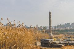 Ruins of Temple of Artemis, one of the Seven Wonders of the Ancient World, near Selçuk, Turkey. View of ruins of Temple of Artemis, one of the Seven Wonders royalty free stock photos
