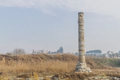 Ruins of Temple of Artemis, one of the Seven Wonders of the Ancient World, near Selçuk, Turkey. View of ruins of Temple of Artemis, one of the Seven Wonders royalty free stock photo