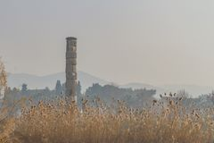 Ruins of Temple of Artemis, one of the Seven Wonders of the Ancient World, near Selçuk, Turkey. View of ruins of Temple of Artemis, one of the Seven Wonders stock photo