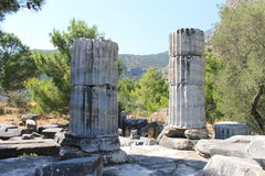 The ruins of the Temple of Athena Stock Images