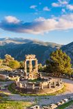 Temple of Athena Pronaia in ancient Delphi, Greece stock images