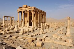 Ruins of the temple of Baal-Shamin in the ancient Semitic city of Palmyra shortly before the war, 2011. Ruins of the temple of Baal-Shamin in the ancient Semitic Stock Photos