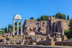 The ruins of the Temple of Castor and Pollux Royalty Free Stock Photo