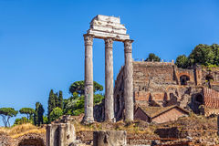 The ruins of the Temple of Castor and Pollux Royalty Free Stock Images