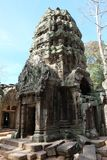The ruins of the temple complex of Ta Prohm in Cambodia. Architectural heritage of the Khmer Empire. A masterpiece of world. Architecture royalty free stock photography