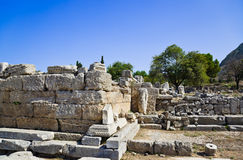 Ruins of temple in Corinth. Greece - archaeology background Stock Photos