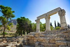 Ruins of temple in Corinth, Greece. Archaeology background Stock Images