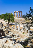 Ruins of temple in Corinth, Greece. Archaeology background Stock Photography