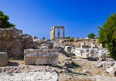 Ruins of temple in Corinth, Greece Royalty Free Stock Photography