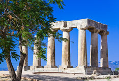 Ruins of temple in Corinth, Greece. Archaeology background Stock Photos