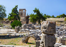 Ruins of temple in Corinth, Greece Royalty Free Stock Photo