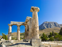 Ruins of temple in Corinth, Greece. Archaeology background Royalty Free Stock Images