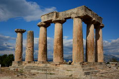 Ruins of temple in Corinth, Greece - archaeology background. Ancient Korynthos, Greece. Ruins of temple in Corinth, Greece - archaeology background Stock Photography