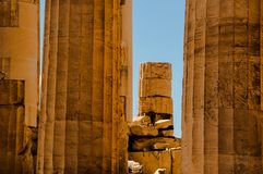 Ruins of temple in greece stock photos