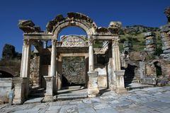 The ruins of the Temple of Hadrian at the ancient site of Ephesus in Turkey. The ruins of the Temple of Hadrian at the ancient site of Ephesus. Ephesus is Stock Photography