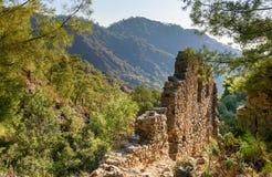 Ruins of temple of Hephaestus. Chimaera Mount. Turkey Royalty Free Stock Photo
