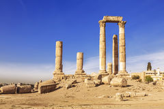 The ruins of the temple of Hercules in the citadel of Amman Royalty Free Stock Image